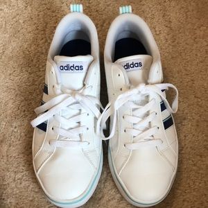 White With Blue Stripes Adidas Shoes